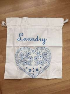 Linen embroidered laundry bag - 14' X 15'