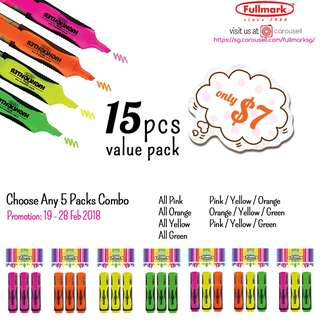 15pcs x Fullmark Fluorescent Highlighter, Chisel tip