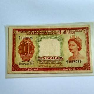 BCC Malaya and British Borneo 10 dollars