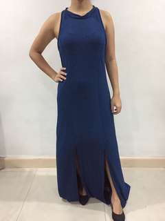 Blue sleeveless gown