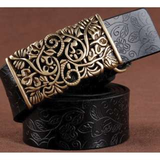 Womens Vintage Leather Belt ( Black )