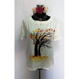 Tree printed white blouse - small to med frame