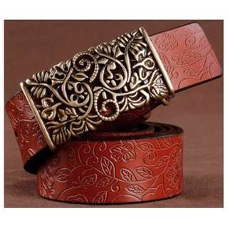 Women vintage leather belt (Brown)