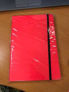Neon red lines A5 notebook