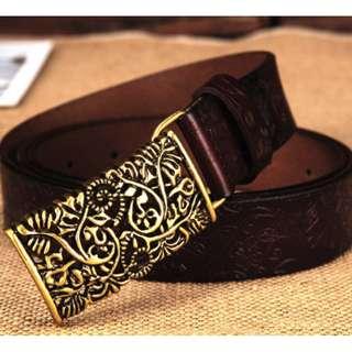 Women's Vintage Leather Belt (Coffee)