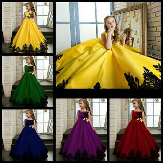 *FREE DELIVERY to WM only / Pre order 15-18 days* Kids dinner gown dress each XABH 718 as shown design/color red, blue, yellow, green, purple.. Free delivery is applied for this item.