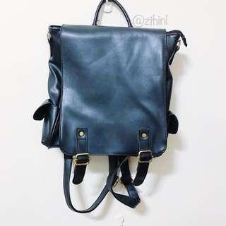 韓系黑皮後背包