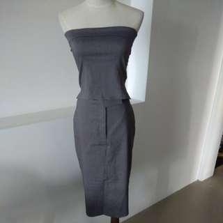 Grey tube top and skirt