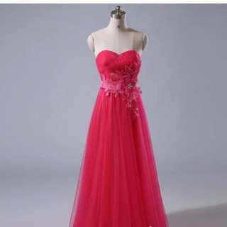 Fuschia vibrant wedding or dinner dress gown