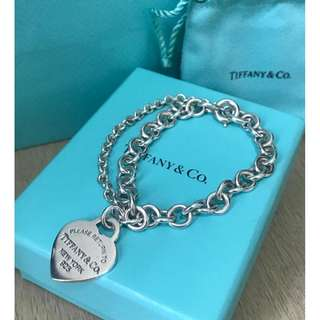 原價$3400 Return to Tiffany two heart bracelet雙心形吊飾心鐲