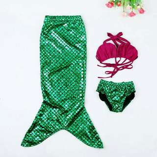 *FREE DELIVERY to WM only / Ready stock, offer*  Kids mermaid 3pc swimsuit set each 2-6yo as shown design/color. Free delivery is applied for this item.