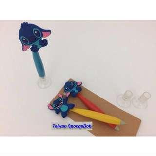 Lilo & Stitch 星際寶貝-史迪奇 櫃檯筆 矽膠公仔筆 站立筆 原子筆 圓珠筆 卡通筆 (藍色筆芯)~有三種款式
