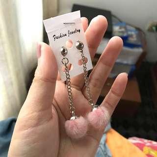 Furr ball pink earrings
