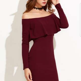 (INSTOCKS) Burgundy Off the Shoulder Bodycon Dress