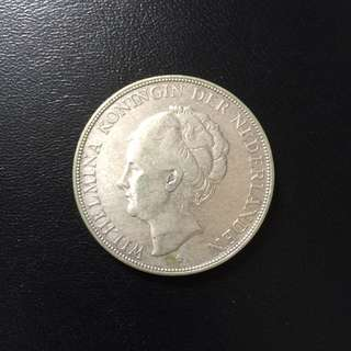 Netherlands Holland 1930 2.5 Gulden silver coin