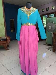 Baju muslim dewasa tosca dan pink