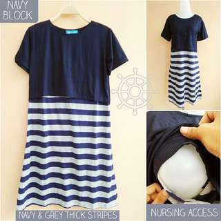 Nursing Dress Navy Blue block with blue and white stripes