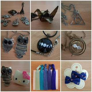 necklace charms & hair ties & clips
