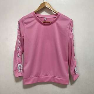 [Preloved] Pink Knot-Sleeved Pullover Sweater Long Sleeves
