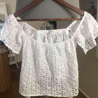 White off shoulder crochet crop