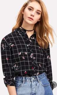 Floral grid button up shirt