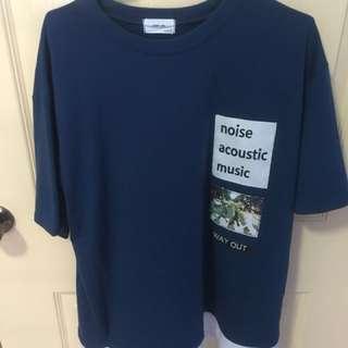 Blue fake two-piece shirt