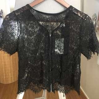 Black mesh floral crop top with zip