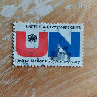 美國郵票联合國成立25週年纪念已銷郵票一套一全