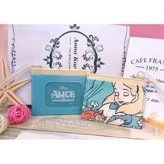 愛麗絲 票卡夾 彈簧吊掛 皮質 迪士尼 日本 正版授權 證件套 票卡套 卡套 alice