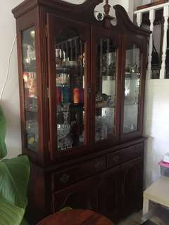 Antique glass Cabinet with light