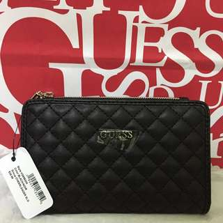 Brand New AUthentic GUESS BLACK quilt Wallet