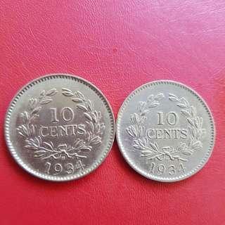SARAWAK 1934 10 cents