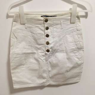 Zara White Button Skirt