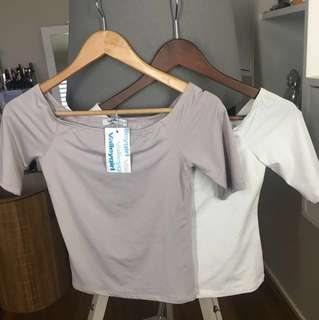 Off shoulder grey and white stretch tops pack