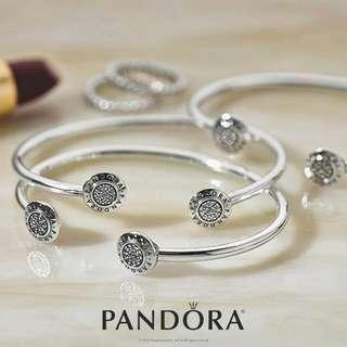 Pandora Open Signature Silver Bangle