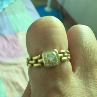 Solid gold 22k rolex inspired cadena ring with diamonds