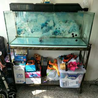 4ft Fish Tank with OHF set, Metal stand and accessories