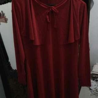 Baju merah polos tangan panjang,  bahan spandek