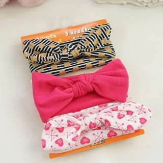 🐰Instock - 3pc assorted headband, baby infant toddler girl children sweet kid happy abcdefg