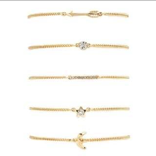 預購款e-5套組簡約金色閃鑽星星月亮手鍊