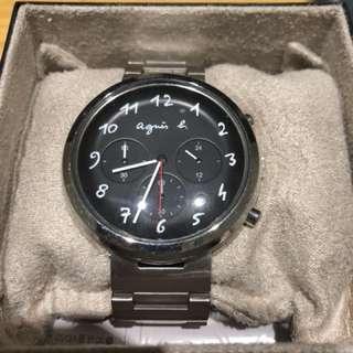 Agnes b. 手錶 錶 男錶 三眼 二手 計時銀 黑 設計 精品