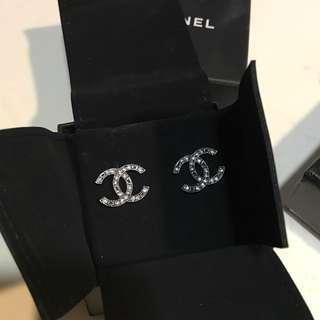 全新Chanel 閃石 耳環 earrings