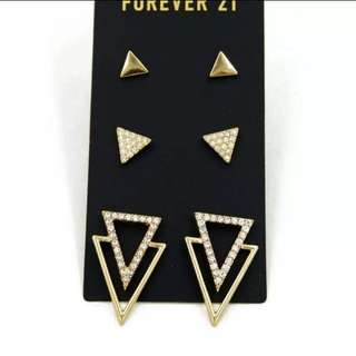 預購款e-3對幾何鏤空三角形閃鑽耳環