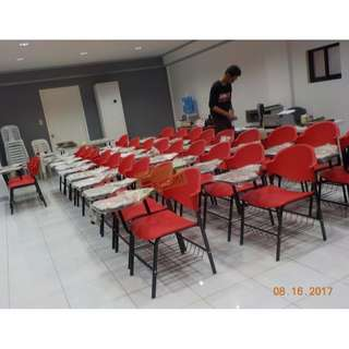 SCHOOL CHAIRS WITH TABLET RED COLOR--KHOMI
