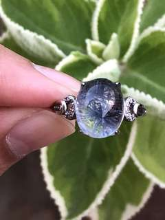 Natural Blue rutilated ring(rare)蓝发晶