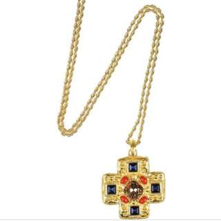 22 karat gold-plated embellished crossed pendant  long necklace 十字架 長頸鏈