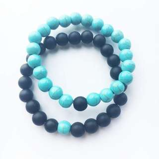 You Complete Me Bracelet - Black/Blue Gelang Couple