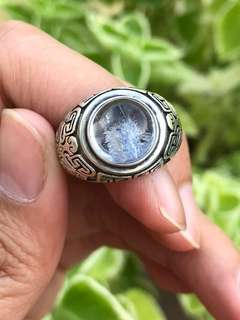 Blue rutilated ring(rare) 蓝发晶