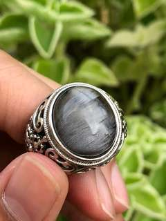 Silver rutilated ring (rare) 银发晶