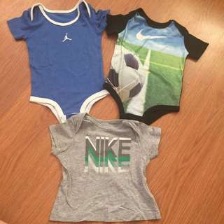 Baby clothes bundle. Nike onesies 3-6mos but can fit up to 9mos( bought in US); Nike shirt 3-6mos but can fit up to 9mos
